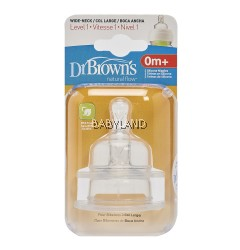 Dr. Brown's Level-1 Silicone Wide Neck Option Teat - 0M+ (2Pcs)