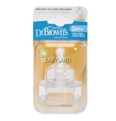 Dr. Brown's Level-2 Silicone Wide Neck Option Teat - 3M+ (2Pcs)