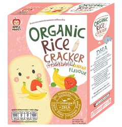 Apple Monkey Organic Rice Cracker Strawberry Banana Flavour - 10 sachets (30g)