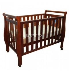 Babyhood Georgia Sleigh Cot - WALNUT