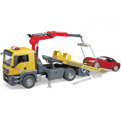 Bruder MAN TGS Tow Truck with Bruder Roadster and Light and Sound Module